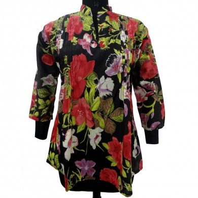 Indian Design Black Summer Loose Fit Top Ethnic Pullover Floral Tunic Size Xl