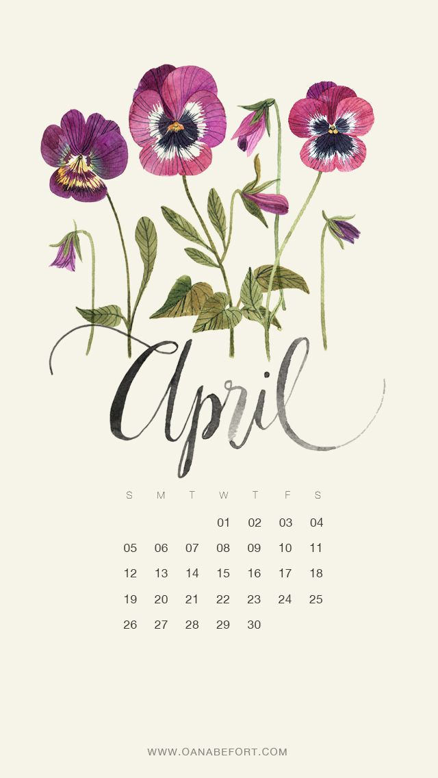 Iphone 8 X Wallpaper April 2015 Floral Watercolor Calendar By Oana Befort