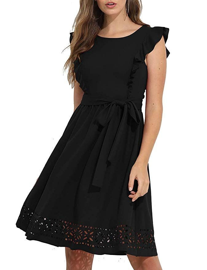 fc62ed24d39 Romwe Women s Casual Ruffle Trim Sleeve A Line Cocktail Party Swing Dress  at Amazon Women s Clothing store