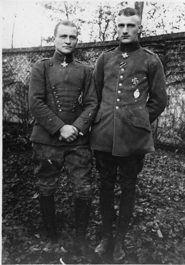 Manfred von Richthofen, the Red baron and his brother, Lothar von Richthofen C. 1917