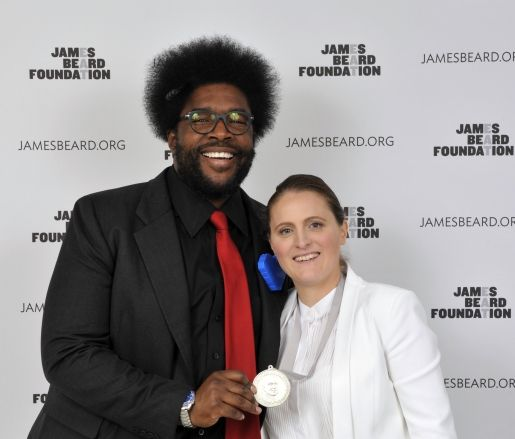 Congratulations to aprilbloomfield on her well-deserved James Beard Foundation Award for Best Chef: New York City. Here is ?uestlove presenting April with her fresh new medal.  Check out all the winners from last night's event:   #MindofaChef #JBFA
