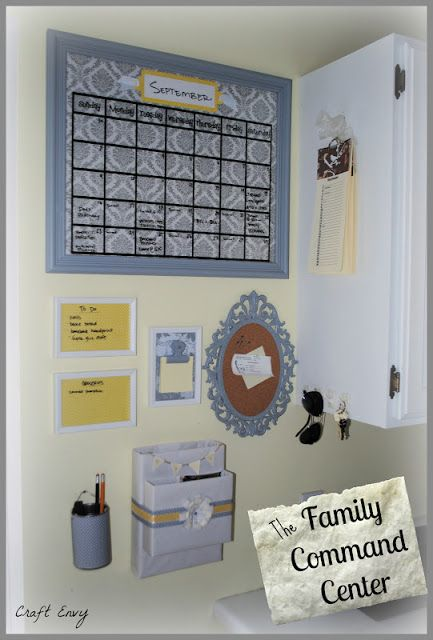 Family Command Center: dry erase calendar, dry erase boards from old frames, vintage corkboard, birthday calendar, mail holder, pencil holder, sticky notepad from a frame.