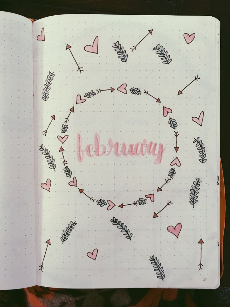 February cover page #bujo #bulletjournal #February #hearts