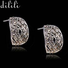 DILILI 2017 nueva moda exagerada pendientes para las mujeres joyería fina de plata brillante de cristal elegante partido de aretes xse145