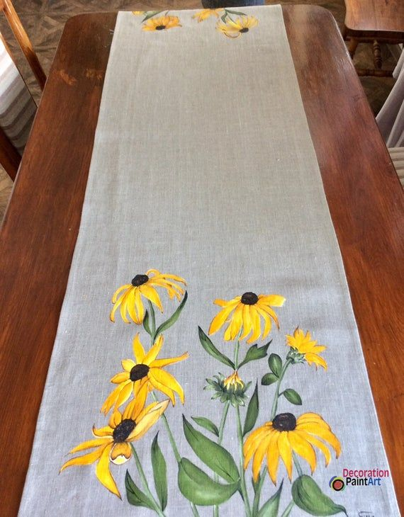 Handpainted Table Runner Rudbeckia Rustic Cloth Table Decoration Holiday Table Cloth Spring Summer Linens Handmade Burlap Mother S Day Gift Fabric Paint Designs Fabric Painting Table Runners