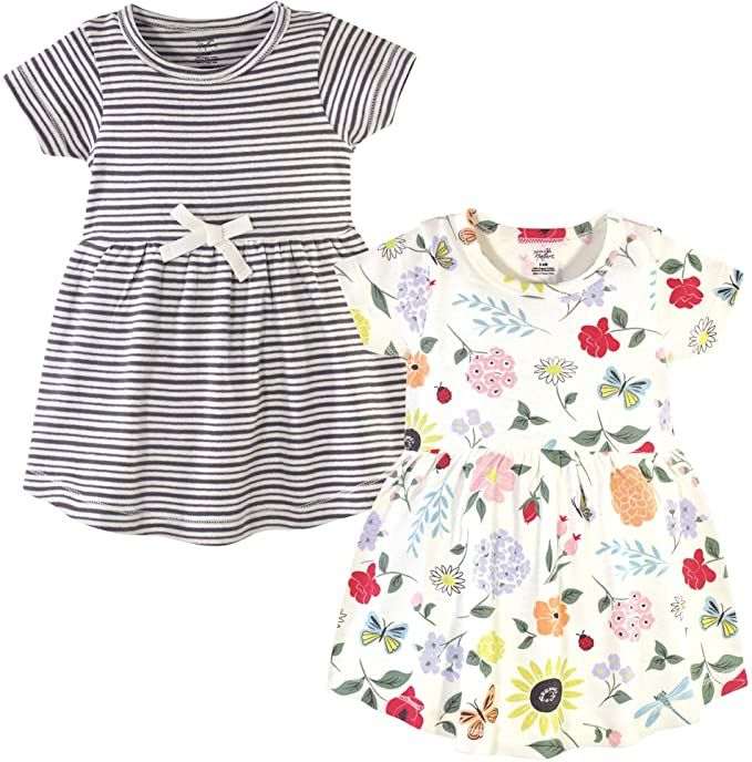 Dinosaurs Casual Toddler Touched by Nature Baby Girls Organic Cotton Short-Sleeve Dresses