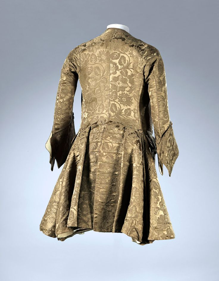 Gorgeous gold Frock coat (back), England, 1740s silk, wood, wool, linen 102.0 cm (centre back), 65.0 cm (sleeve length) National Gallery of Victoria, Melbourne