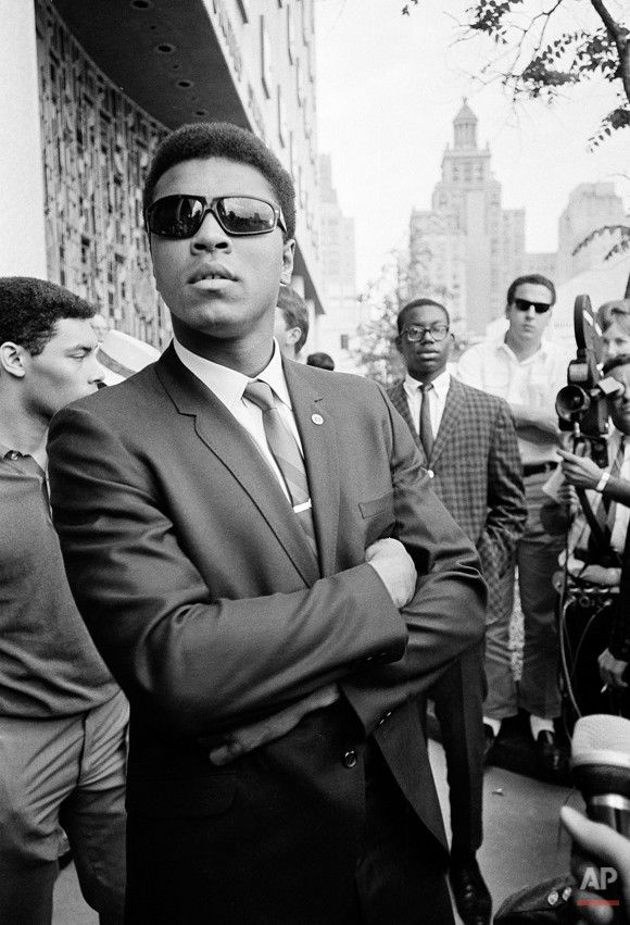 Muhammad Ali in Houston in 1967, to refuse Army induction (the old city hall building in background). Ali said he was a conscientious objector who would not serve in the Army of a country that treated members of his race as second-class citizens.