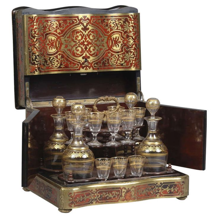 A Fine Boulle Brass Inlaid Decanter Box and Liqueur Set | From a unique collection of antique and modern barware at http://www.1stdibs.com/furniture/dining-entertaining/barware/