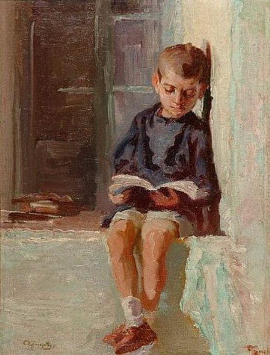 Alexandros Christofis [1882-1957] - Boy reading
