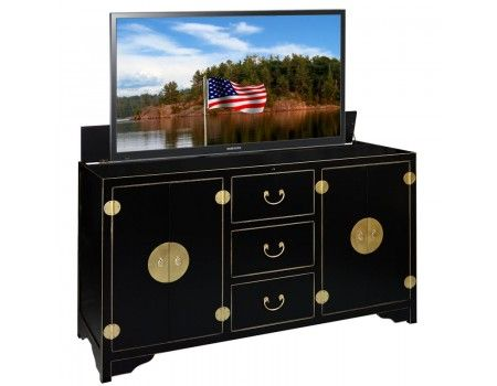 reminiscent of traditional asian decor the dynasty black tv lift cabinet is a stylish addition to any living space