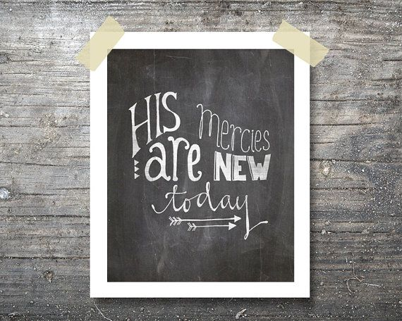 His Mercies Are New Today Chalkboard Scripture Verse Hand Lettering Printable Art 8x10 Instant Digital Download