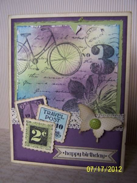 Love the colors: Cards Ideas Postage Due, Mists Colors, Cards Birthday, Pretty Colors, Stamps Birthday Cards, Postage Stamps Cards, Stamps Sets, Collage Colors, Cards Bicycles