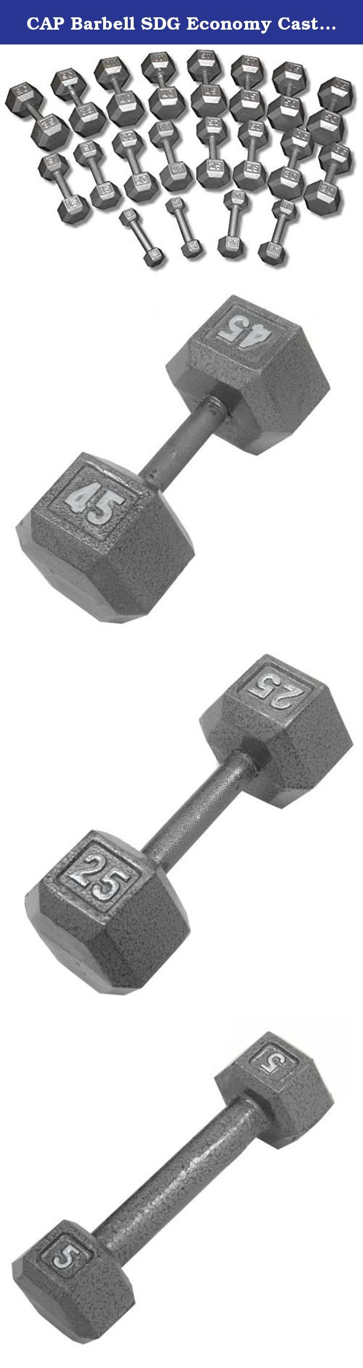 CAP Barbell SDG Economy Cast Iron Hex Dumbbell Set - 5 to 50 lbs (10 pairs) - Garage Gym Weight Set. Economy Cast Iron Hex Dumbbell Sets from CAP Barbell - Hex dumbbell sets are often the perfect dumbbell choice for home gym and garage gym use. They are economical and space efficient and for a lot of people that is the most important criteria when purchasing dumbbells for home use. Hexagonal dumbbell heads are non-rolling when set down on the floor or racks. Cast iron heads increase in…