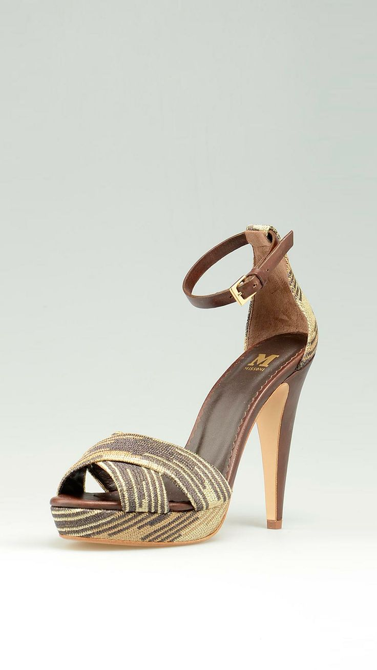 Brown and beige and metallic platform high heeled shoes featuring a  cross straps open toe, buckled leather ankle strap, brown leather trims, leather sole, platform 0.78 inch, heel 5.07 inch.