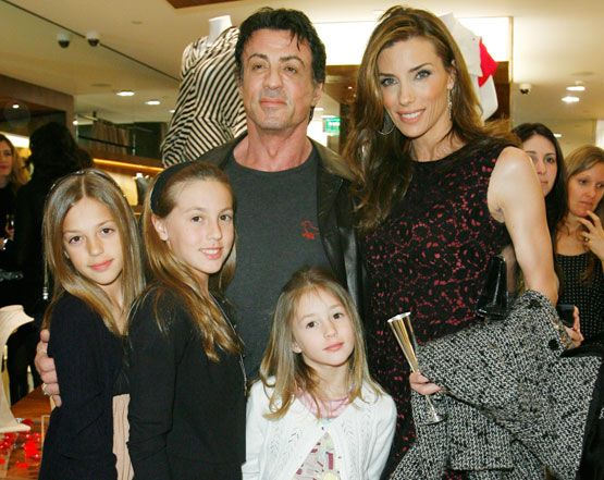 Sly Stallone, wife Jennifer Flavin and children.