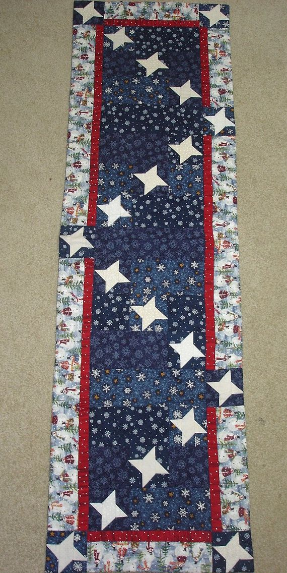 STARRY SNOWY NIGHT quilted table runner
