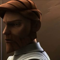 Obi-wan giving the sassy brows when Anakin not-so-subtly questions his love life