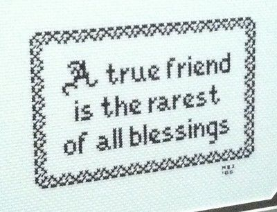 Cross Stitch Completed Finished True Friend Blessings Brown Framed