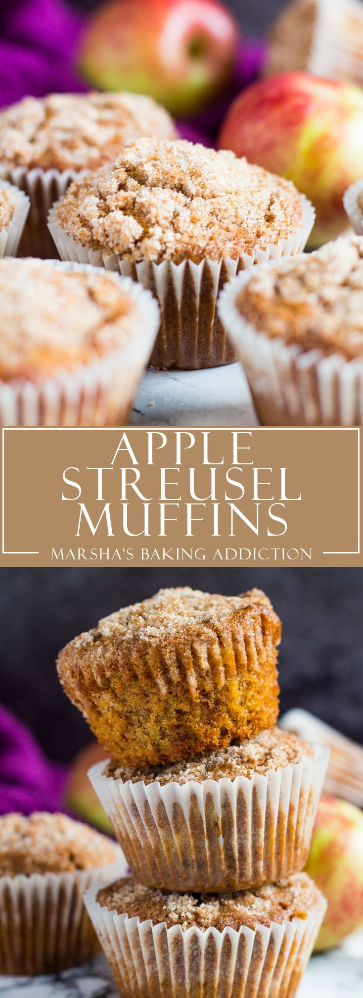 Apple Streusel Muffins   http://marshasbakingaddiction.com /marshasbakeblog/