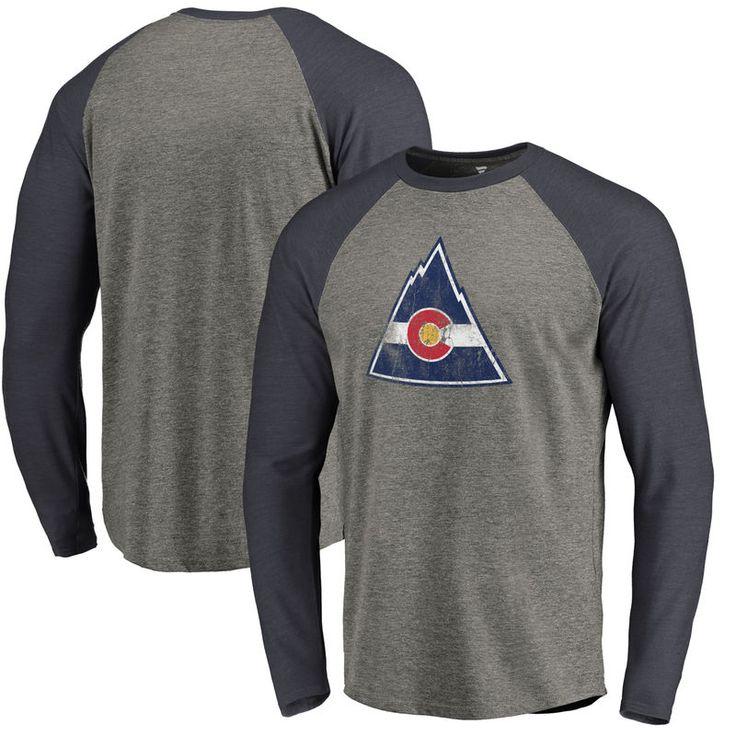 CO Rockies Throwback Logo 1976-1977 Tri-Blend Long Sleeve Raglan T-Shirt - Ash/Navy