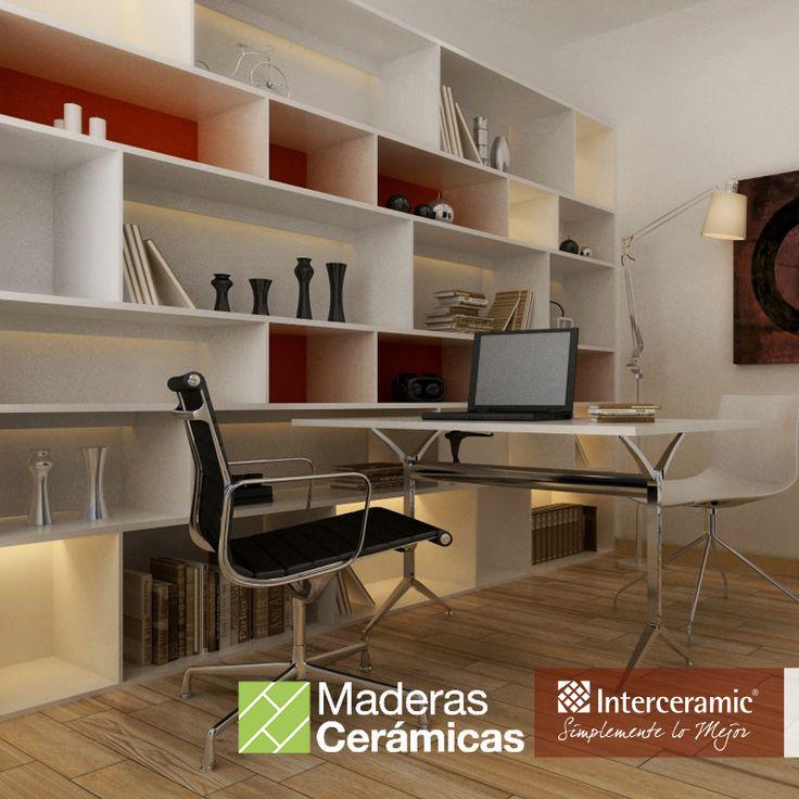 Gracias a las #maderas #cerámicas de la línea Trio Legno de #Interceramic, puedes instalar tu #oficina sin restar calidez y elegancia a tu #casa.