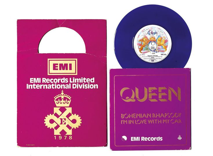 5. Queen, 'Bohemian Rhapsody/I'm In Love With My Car', 7 Inch Single, 1978. This EMI in-house special edition of the single doubled as an invite to a company event, and so came with goodies including matches, pen, ticket, menu, outer card sleeve, scarf and EMI goblets in card box. Value: £5000.  The 20 most valuable records ever | NME.COM