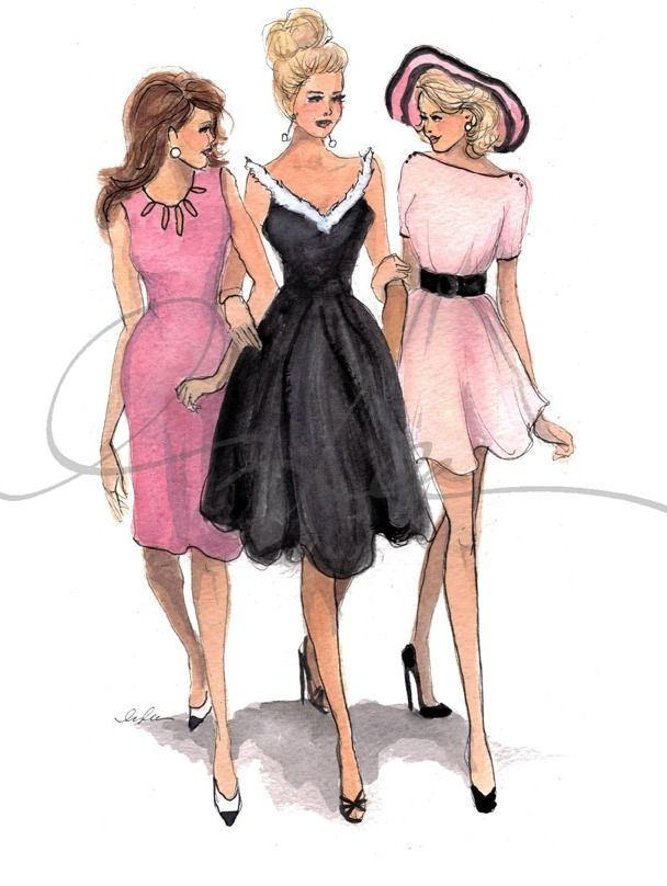 Brunette wearing Pink Dress; Blonde wearing Black Dress; Blonde wearing Pale Pink dress w/Black Belt and Hat FROM: Trishy Rose: Pink & Green Thursday: Fashion Illustration