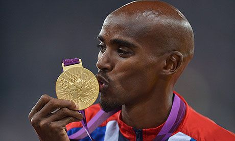 Love me some Mo! Mo Farah's 5,000m and 10,000m double gold is one of the defining moments of the London 2012 Olympics. Photograph: Christophe Karaba/EPA