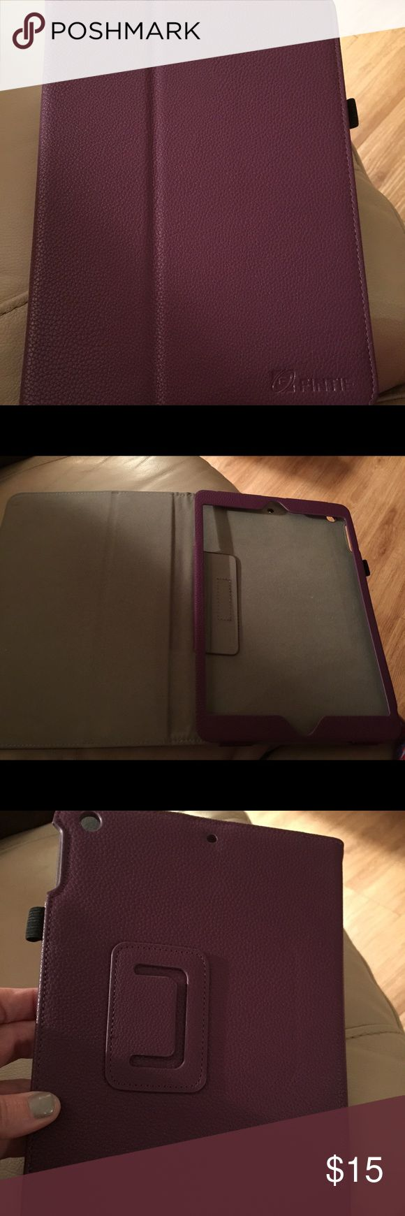 Finite iPad Air Folio Case Practically brand new deep purple PU leather folio for iPad Air (not Air 2) Magnetic sleep/wake close and stand for viewing. I bought it and then got the iPad Air 2 for Christmas. Accessories Laptop Cases