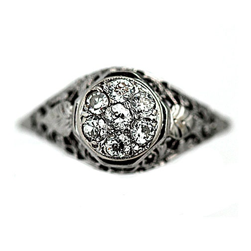 Art Deco 14 Kt White Gold Old European Cut Diamond Engagement Ring Circa Early 1900's