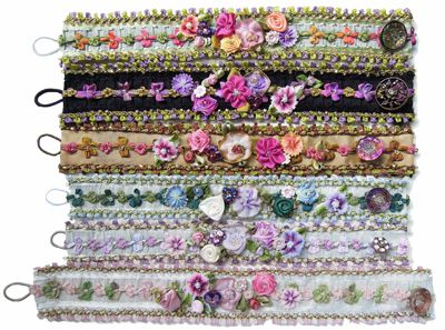 Helen Gibb - diy ribbon flower bracelts using French ribbons, ribbon flowers trim, etc...