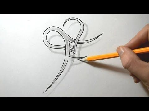 Initial F and Heart Combined Together - Letter Tattoo Design - YouTube