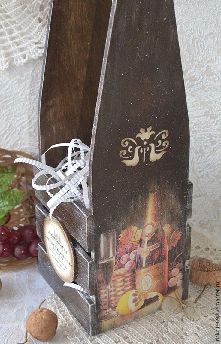 """Купить Короб для вина """"Игристое вино"""" - коричневый, винный короб, винный ящик, короб для вина"""