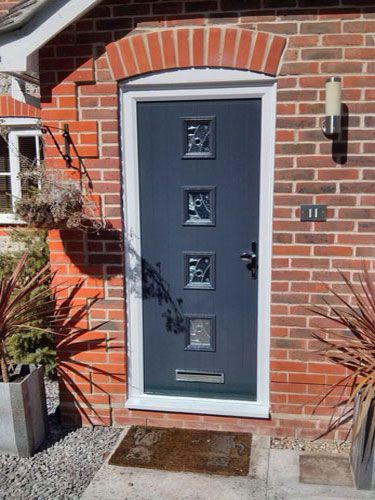 4 Square Abstract Composite Front Door in Grey