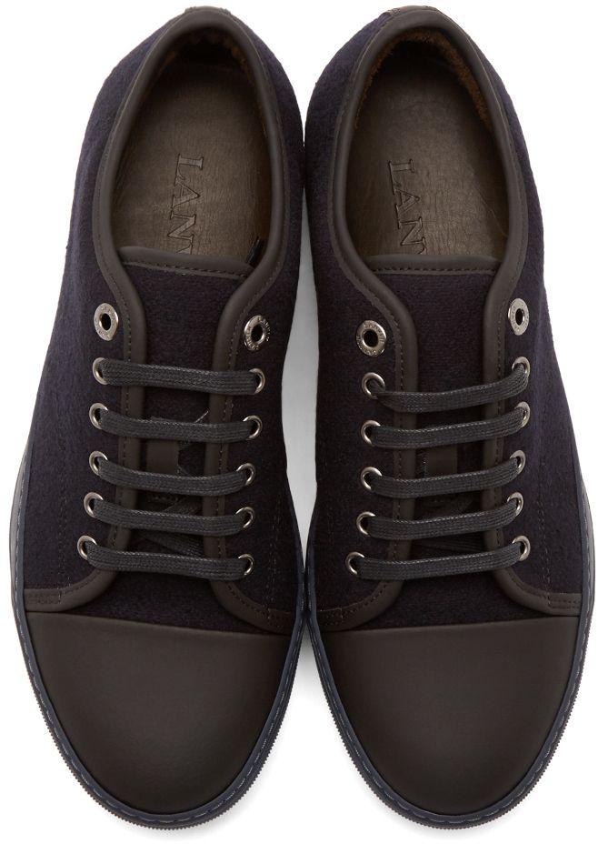 Lanvin: Black Felt Cap-Toe Sneakers | SSENSE