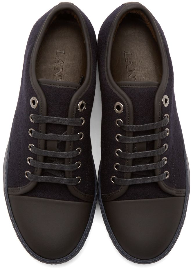 Lanvin: Black Felt Cap-Toe Sneakers   SSENSE