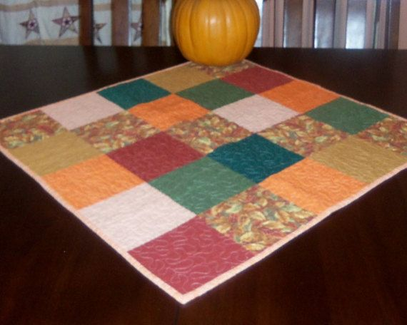 Handmade Quilted Fall Table Runner 27x27 inches Square