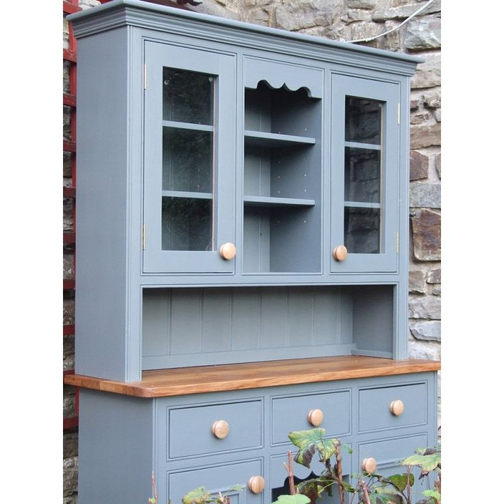 """Painted Welsh Dresser with dog kennel base and glazed door top, W:4'6"""" x H:33"""" D:18"""" Shown here fitted with a solid oiled-oak top and hand-painted in Little Greene 'Scree' Built to your own specifications and finished in any colour from the Farrow & Ball, Little Greene, Dulux or Annie Sloan paint ranges."""