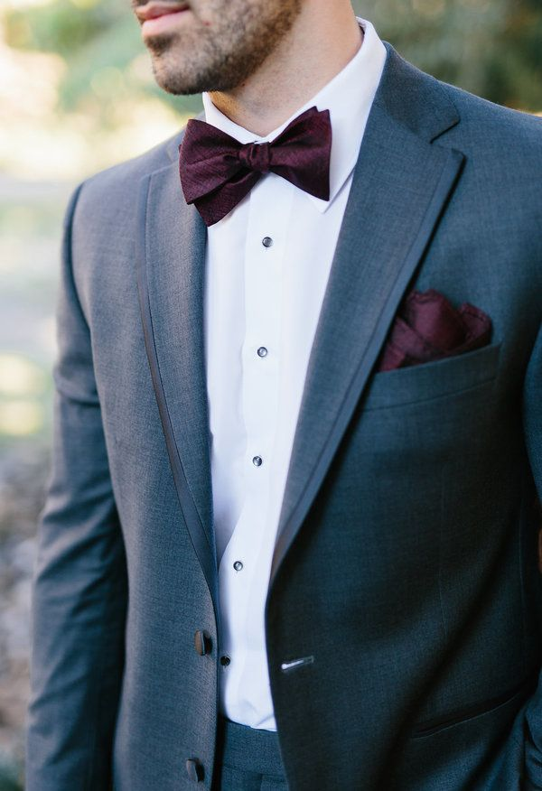Wine-hued bow tie and pocket square, grey suit // Clay Austin Photography ~ this looks great.