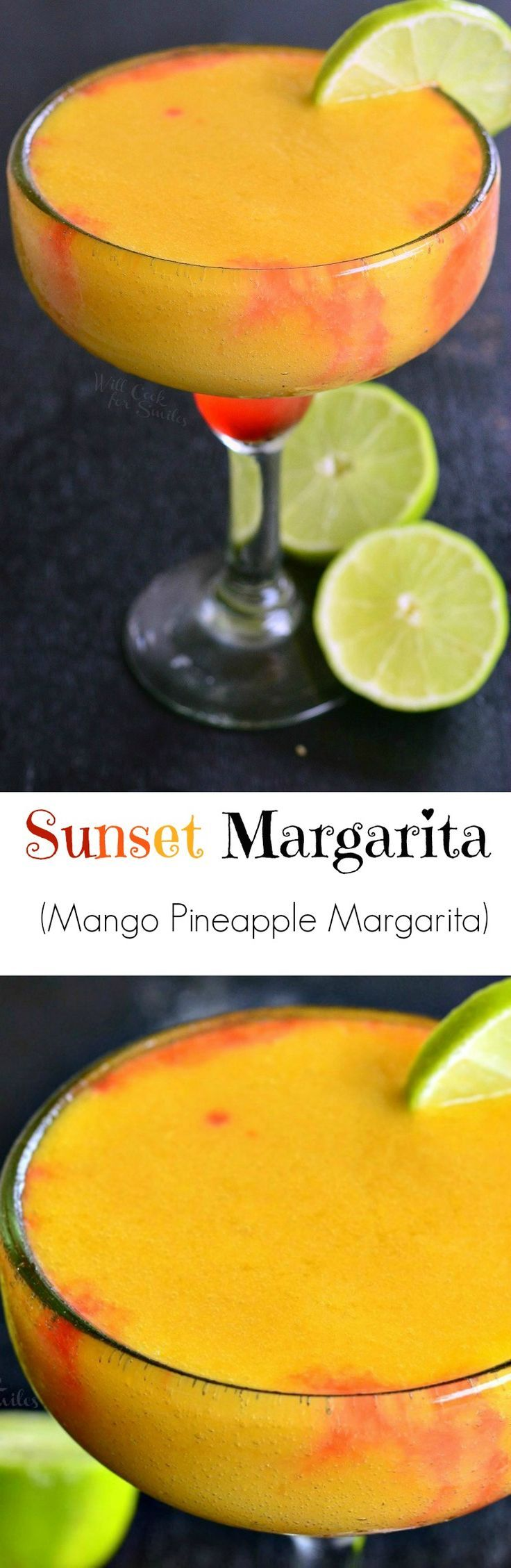 Sunset Margarita. Refreshing, sweet, frozen margarita, perfect for any summer celebration. from willcookforsmiles.com