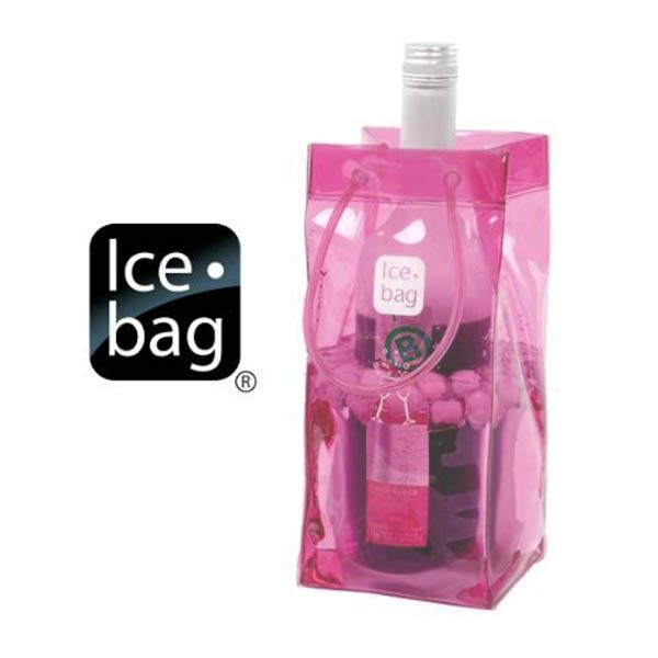 """Ice Bag - Pink ICE BAG® Collapsible Wine Cooler Bag Perfect for parties, picnics and restaurant service. Portable(sturdy loop handles), strong and durable. Just add ice and water, insert bottle and you are ready to go.   -9-5/8"""" high X 4-5/8"""" wide X 4"""" deep -Durable PVC -Water resistant"""