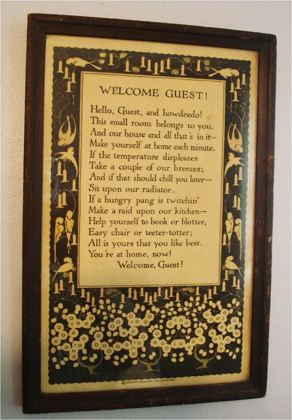 Vintage Guest Room Framed Welcome Poem 1918 Pinterest