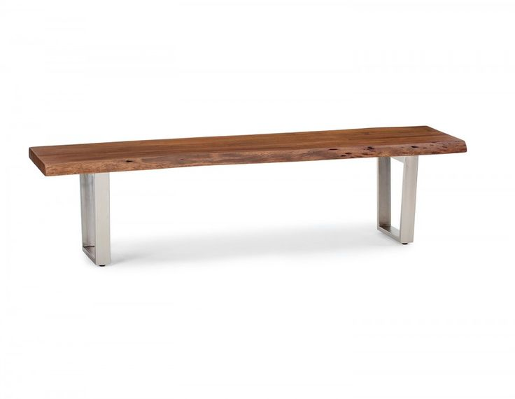 The Maria wooden bench adds organic, nature-inspired flair to any space, whether it's a casual kitchen or more formal dining room. A live edge on the solid acacia-wood seat speaks to the piece's artisanal craftsmanship,  as metal legs with nickel finish provide durability —  not to mention a touch of hip, industrial style.   This solid wood bench should be cleaned with a dry cloth. Avoid leaving objects on its surface for extended periods of time.