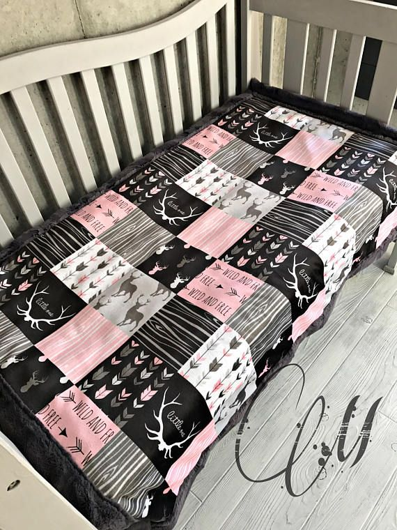 ***Options*** Please read carefully!! Pink and charcoal faux quilt with pink hide backing. Minky blankets are minky on both sides. Check shop info for turnaround time. Minky Baby blanket - Measures approximately 28x38 inches. Great for strollers, car seats, swaddling etc Minky