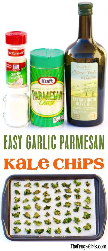 Easy Garlic Parmesan Kale Chips Recipe! ~ from TheFrugalGirls.com ~ just 5 ingredients, and such a delicious and healthy guilt-free snack!