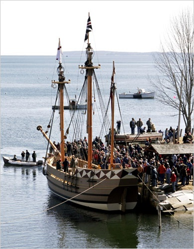 The Godspeed, a replica of one of the ships that carried the first settlers to Jamestown in 1607, is seen on March 18, 2006 in Rockport, Maine. The 65-foot Godspeed is a three-masted square-rigger that was built for the Jamestown Settlement living history museum in Virginia. The Godspeed will take part in the 400th anniversary celebration in 2007.