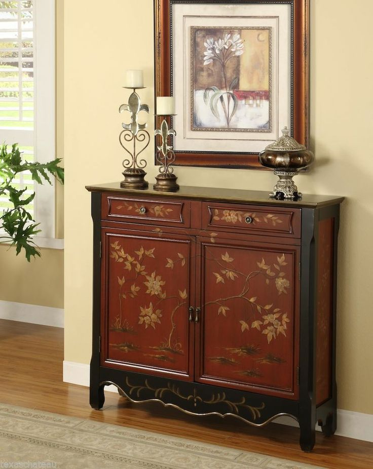 CHINESE RED CHINOISERIE Antique Style Chest Cabinet Buffet Entry Accent  Table