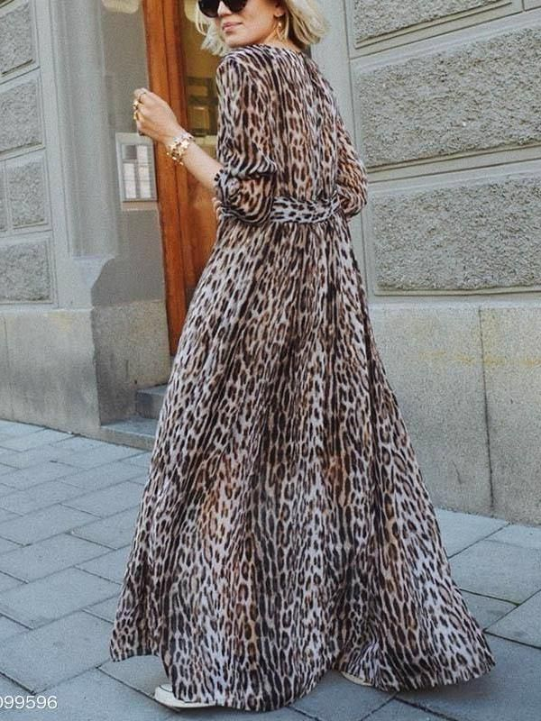 f4012fb3c6 Sexy V-Collar Leopard Print Long-Sleeved Loose Maxi Dress  style  boho   hashtag  bohemia  happy  fashion  shopforselection  maxi  look  stylish