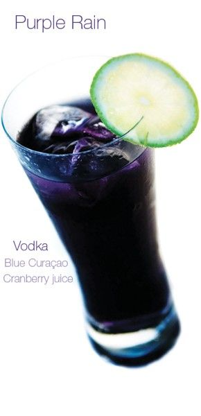 Purple Rain cocktail: 1 part Vodka  1 part Blue Curacao  2 parts Grenadine  2 parts Pineapple Juice  dash of Lime Juice    or    1 part Vodka  1 part Blue Curacao  1 part Cranberry juice    Method  Mix ingredients together with ice, add to a Collins glass. ENJOY!